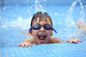 school age boy swimming med