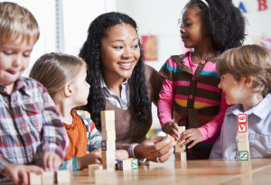 Preschool children in classroom