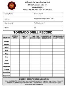 tornado drill log fire marshall child care aware of kansas
